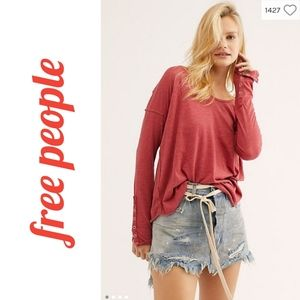 NWT Free People Sienna Snap Sleeve Top, Size L